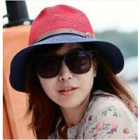 韩版个性时尚休闲女士遮阳帽海边度假沙滩帽子情侣潮太阳帽草帽草编小礼帽