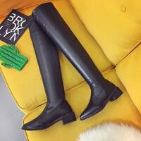 过膝长靴长筒靴子女秋冬款2018新款韩版百搭粗跟尖头高筒弹力女靴 黑色