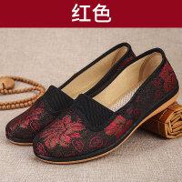 奶奶鞋中老年妈妈单鞋春季透气软底滑绣花鞋女老北京布鞋