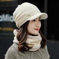 加绒电动骑车帽子女秋冬季围脖韩版毛线帽保暖冬天防寒针织鸭舌帽