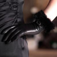 山羊皮手套 女士兔毛口真皮草手套时尚保暖手套