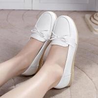 护士鞋女白色平底舒适滑软底大码41-43码平跟牛筋底单鞋女潮 白色 码数标准