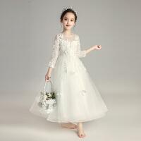 女童长袖生日公主裙花童婚纱裙蓬蓬裙儿童礼服小主持人钢琴演出服