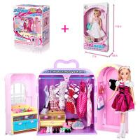 乐吉儿梦幻衣柜橱芭比娃娃套装大礼盒女孩公主过家家玩具10岁以上