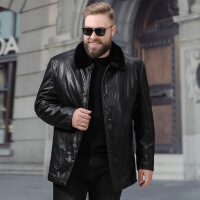 时尚新款保暖中年皮衣男士加绒加厚爸爸装秋冬季外套中老年宽松大码保暖皮夹克 黑色