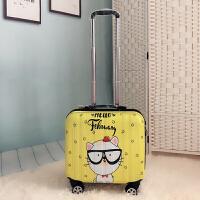 可爱18寸行李箱万向轮拉杆箱迷你旅行箱16寸登机箱航空密码箱行李箱拉杆箱女男皮相 柠檬黄 镜面小白猫