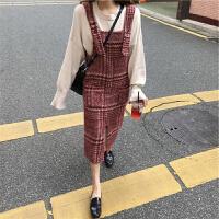 新年特惠秋冬装女装山本风法式桔梗毛衣加配裙子两件套气质复古初恋连衣裙 红色