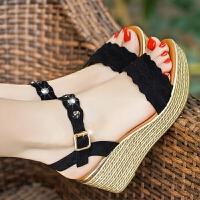 夏季新款坡跟凉鞋女平底厚底高跟鞋鱼嘴休闲鞋百搭仙女风女鞋