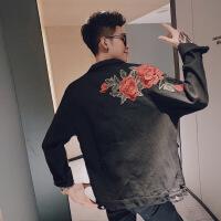 【秋冬新品】网红同款刺绣翻领中长款牛仔夹克风衣男秋季社会小伙痞帅大衣外套