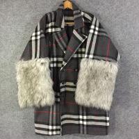 潮牌热推 格纹皮草阔袖秀款超厚羊毛呢外套大衣,原创小众设计师品牌 付款后2--4天发货