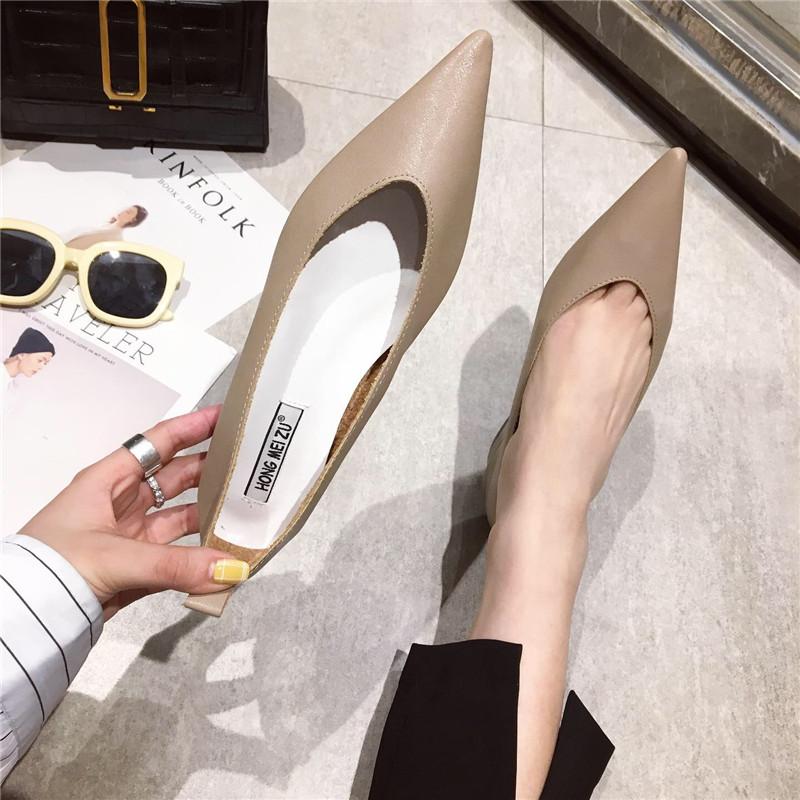 2019春季新款时尚尖头浅口单鞋低跟韩版百搭简约工作流行女鞋子潮
