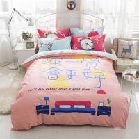 �W�t棉卡通四件套棉�和�床上用品床�稳吮惶状�W生宿舍三件套q 桔�t色 睡一�X
