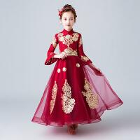 儿童走秀礼服小主持人钢琴演出服夏女童长袖生日公主裙长裙蓬蓬裙