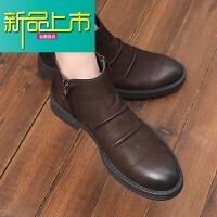 新品上市冬季加绒马丁靴男士真皮高帮皮鞋百搭短靴男英伦牛皮靴潮靴