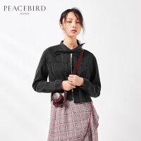 黑色牛仔外套女2019夏季新款修身时尚单排扣短款夹克女太平鸟女装
