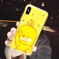 可爱小黄鸭iphoneXS Max手机壳苹果X女款8plus闪钻7/XR卡通网红6S XS Max6.5 蓝光滴胶 单只