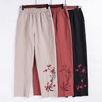 妈妈裤子夏季薄款长裤中老年人女裤纯棉绣花高腰宽松奶奶直筒裤子