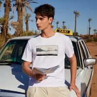 40森马短袖T恤男2020夏季新款圆领套头青少年印花上衣文艺潮体恤潮
