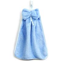 [当当自营]三利 珊瑚绒蝴蝶结挂式擦手巾30×44cm 淡钢蓝 加厚不掉毛强吸水 浴室厨房居家多用途抹手毛巾