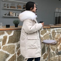 棉衣女中长款工装韩版外套女棉袄加厚学生冬季连帽大毛领羽