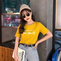 T恤 女士大码圆领字母印花短袖2019夏季新款韩版时尚女士套头衫女装半袖