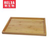 RELEA/物生物 茶具套�b��木茶�P 玻璃茶具方形竹茶�P 茶托 托�P