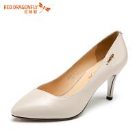 红蜻蜓女鞋真皮单鞋职业工作鞋尖头高跟鞋舒适平底鞋