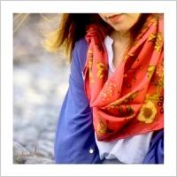 蒙马特大街艺术衍生品真丝围巾丝巾女式古典传统东方百搭民族花卉