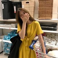 新款连衣裙 夏季韩版纯色圆领气质修身高腰短裙显瘦短袖针织裙连衣裙 黄色 均码