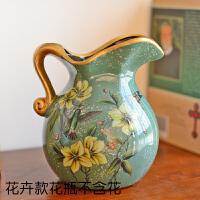 20190420021749961欧式田园陶瓷小花瓶美式客厅装饰摆件仿真花艺套装干花插花器