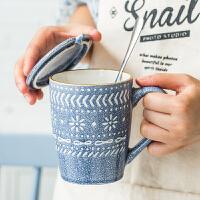 北欧陶瓷杯子家用大容量马克杯带盖带勺创意咖啡杯办公室喝水杯子