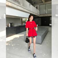 卡贝琳女2019新款大版宽松字母t恤女中长款韩版慵懒风休闲体恤超火cec短袖红色上衣