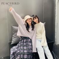 白色镂空针织衫女2019春新款纯色长袖套头chic圆领打底上衣太平鸟