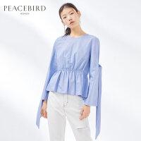 格子衬衫女春装2019新款长袖宽松蓝色圆领时尚系带上衣太平鸟女装