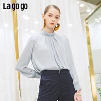 【清仓5折价179】Lagogo/拉谷谷2019年春季新款时尚简约文艺雪纺衫女IASS532M12