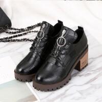 2019春季新款短靴女靴子韩版chic时尚学院风中跟粗跟系带马丁靴女 黑色
