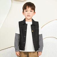 【6折价:215.46元】马拉丁童装男大童外套春装2020年新款丹宁风牛仔黑色马甲外套