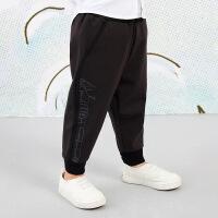 【3件7折价:118.3元】马拉丁童装男小童裤子春装2020年新款针织长裤黑色哈伦休闲裤