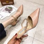 细跟高跟半托2019春季新款女鞋尖头包头一字带水钻韩版时尚拖鞋女