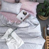 简约清新四件套全棉纯棉1.8m床双人被套 床单被罩三件套床上用品