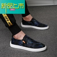 新品上市潮男鞋男鞋子韩版潮流英伦百搭休闲鞋青年透气时尚印花布鞋男