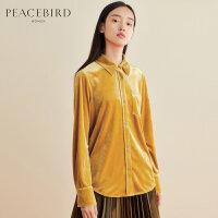 黄色丝绒衬衫女韩版春装2019新款chic上衣港味长袖法式复古衬衣女