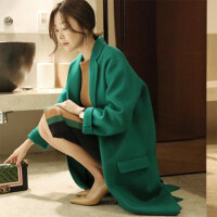 新年特惠女士毛呢外套2019新款过膝中长款加厚绿色茧型双面大衣女 绿色 【原版】