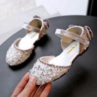 女童凉鞋新款韩版夏季儿童单鞋半包头水晶公主鞋亮片水钻鞋子