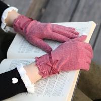 日系春秋冬季薄款可爱女手套冬天保暖显瘦粉色骑车用防寒软妹触屏