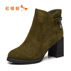 红蜻蜓女鞋秋冬休闲鞋鞋子女女靴子加绒短靴WMC7313