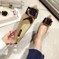 2019新款尖头鞋平底单鞋舒适软底女鞋子韩版时尚金属扣百搭女鞋