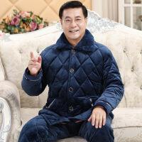男士睡衣珊瑚绒夹棉冬季加厚加绒中老年爸爸保暖套装家居服秋冬款