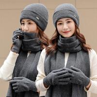 帽子围巾手套女冬天韩版毛线帽子女秋冬季纯色百搭护耳保暖针织帽