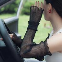 夏天防晒袖套女加长款手袜 蕾丝手套薄款冰袖开车手袖护臂手臂套